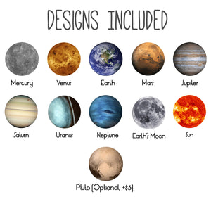 Interchangeable necklace designs included - Mercury, Venus, Earth, Mars, Jupiter, Saturn, Uranus, Neptune, Moon, Sun, and Pluto