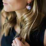 Interchangeable leverback dangle earrings with various nebula magnets - Cosmic galaxy jewellery for STEM fashion by Yugen Tribe
