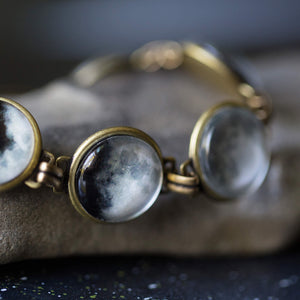 Phases of the Moon Bracelet - Lunar phases set on a bronze bracelet - Outer Space Galaxy Jewelry by Yugen Tribe