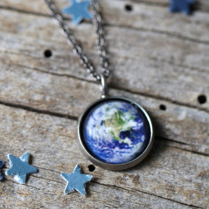 Custom outer space pendant - Choose your galaxy image - Silver Earth Necklace -  handmade universe jewelry by Yugen Tribe