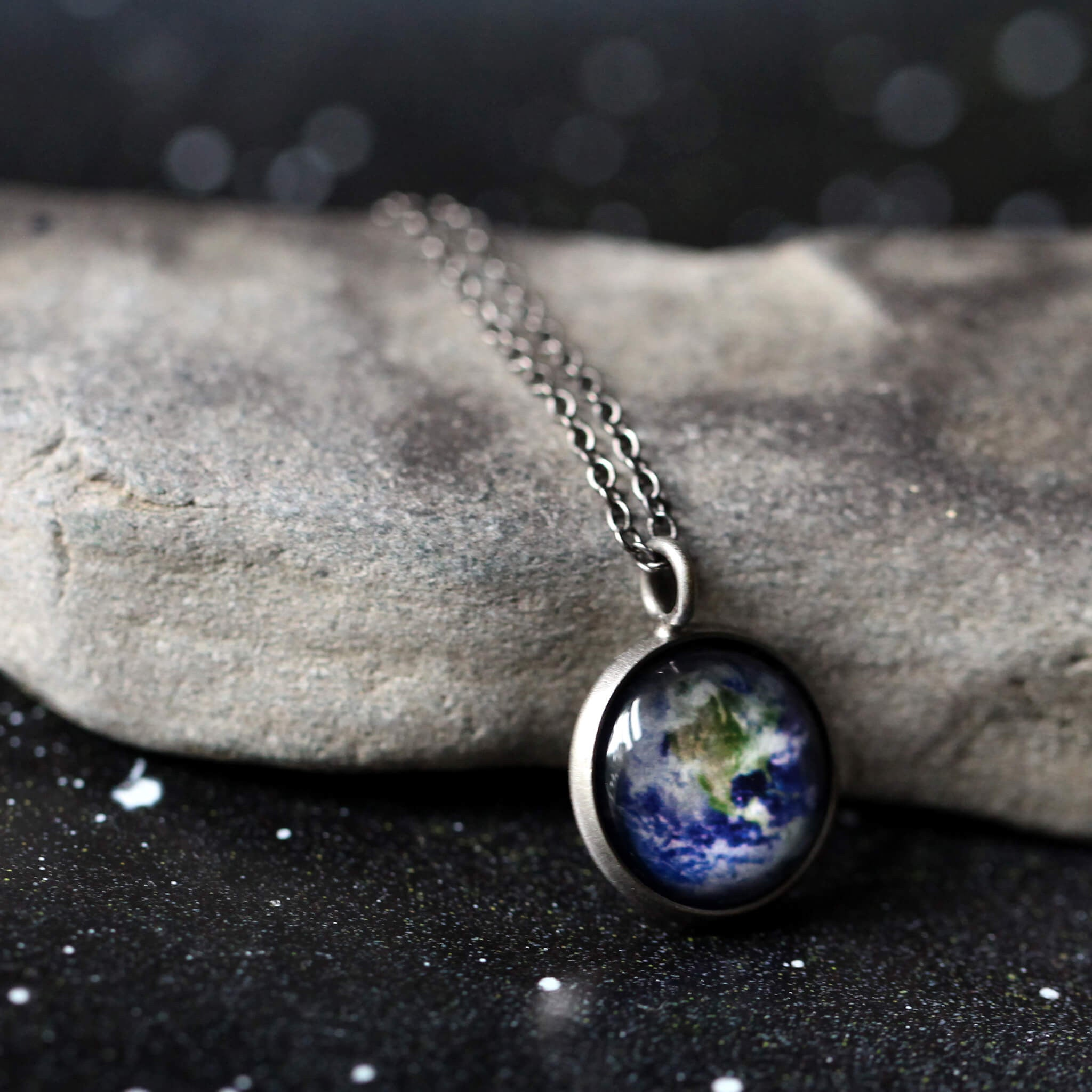 Custom outer space pendant - Choose your galaxy image - Silver Earth planet necklace, handmade universe jewelry by Yugen Tribe