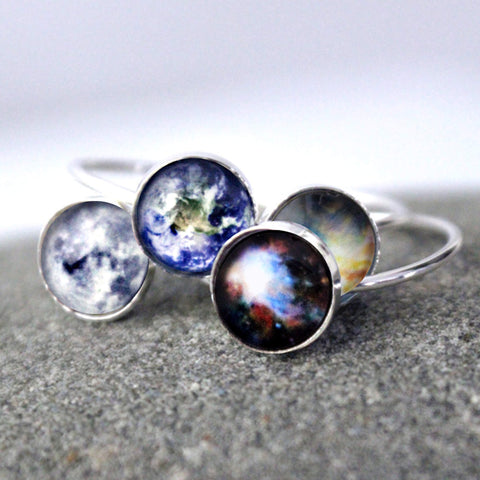 Sterling Silver Galaxy Space Ring, Made to Order in Your Size