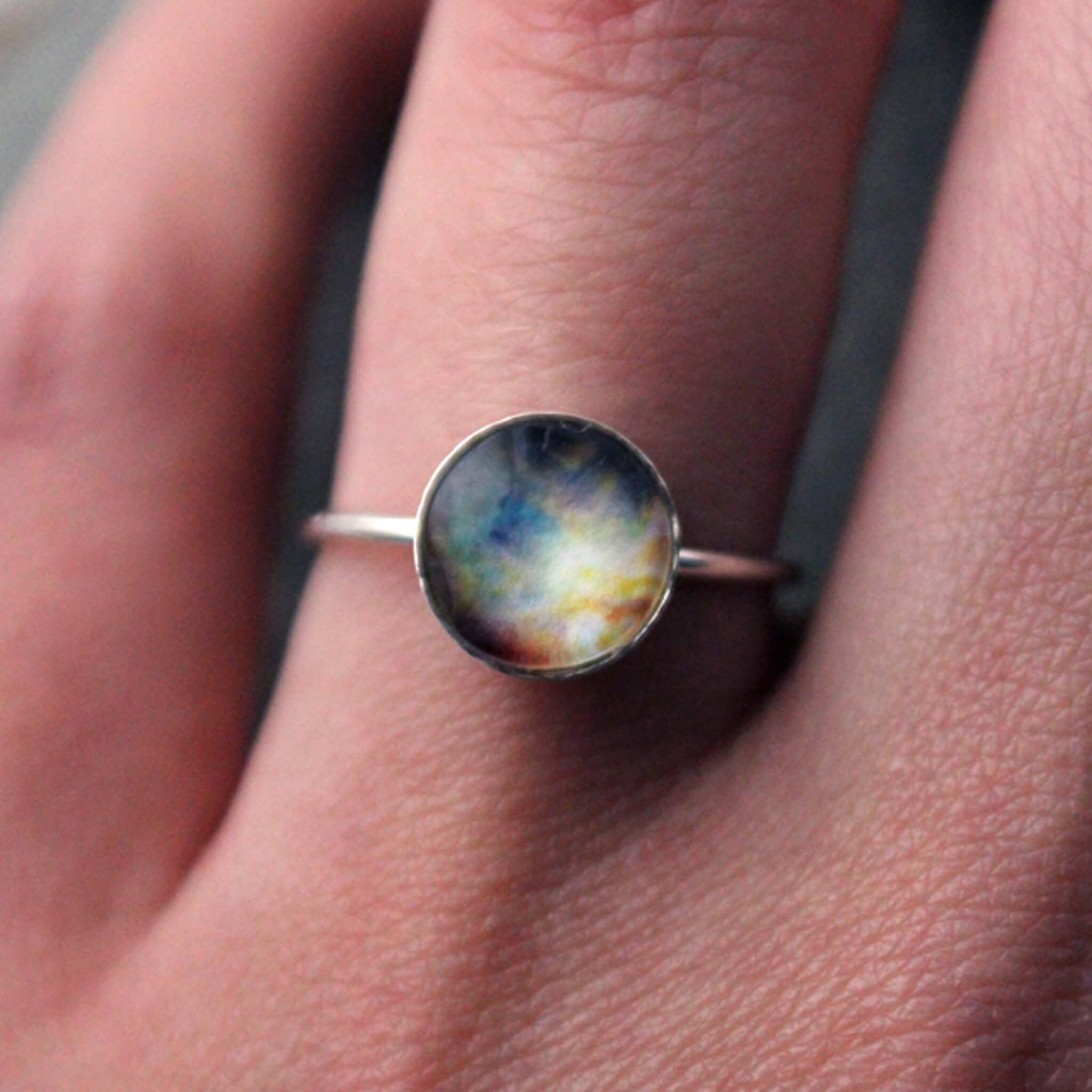 Custom Sterling Silver Space Ring, Made in Custom Sizes - Choose Your Galaxy Image, Outer Space nebula planet STEM Astronomy jewelry handmade by Yugen Tribe modeled