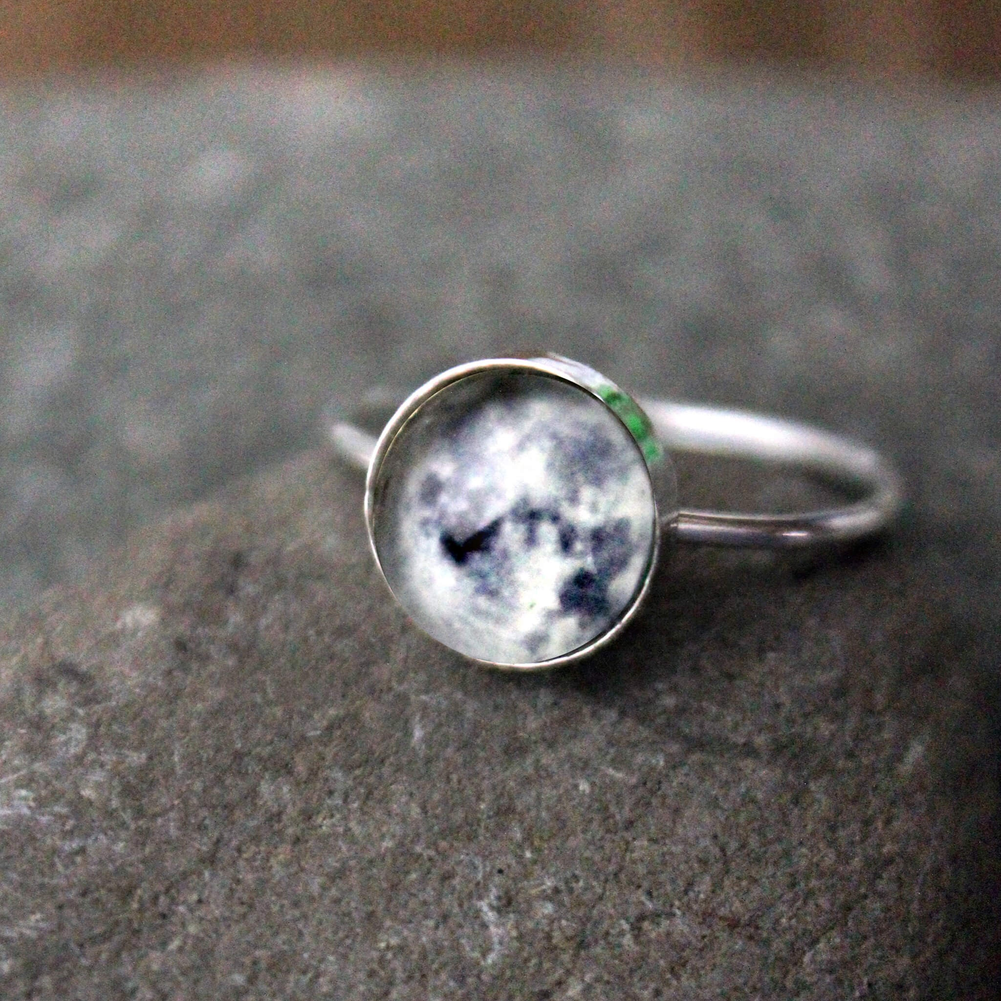 Custom Sterling Silver Space Ring, Made in Custom Sizes - Choose Your Galaxy Image, Outer Space nebula planet STEM Astronomy jewelry handmade by Yugen Tribe with moon