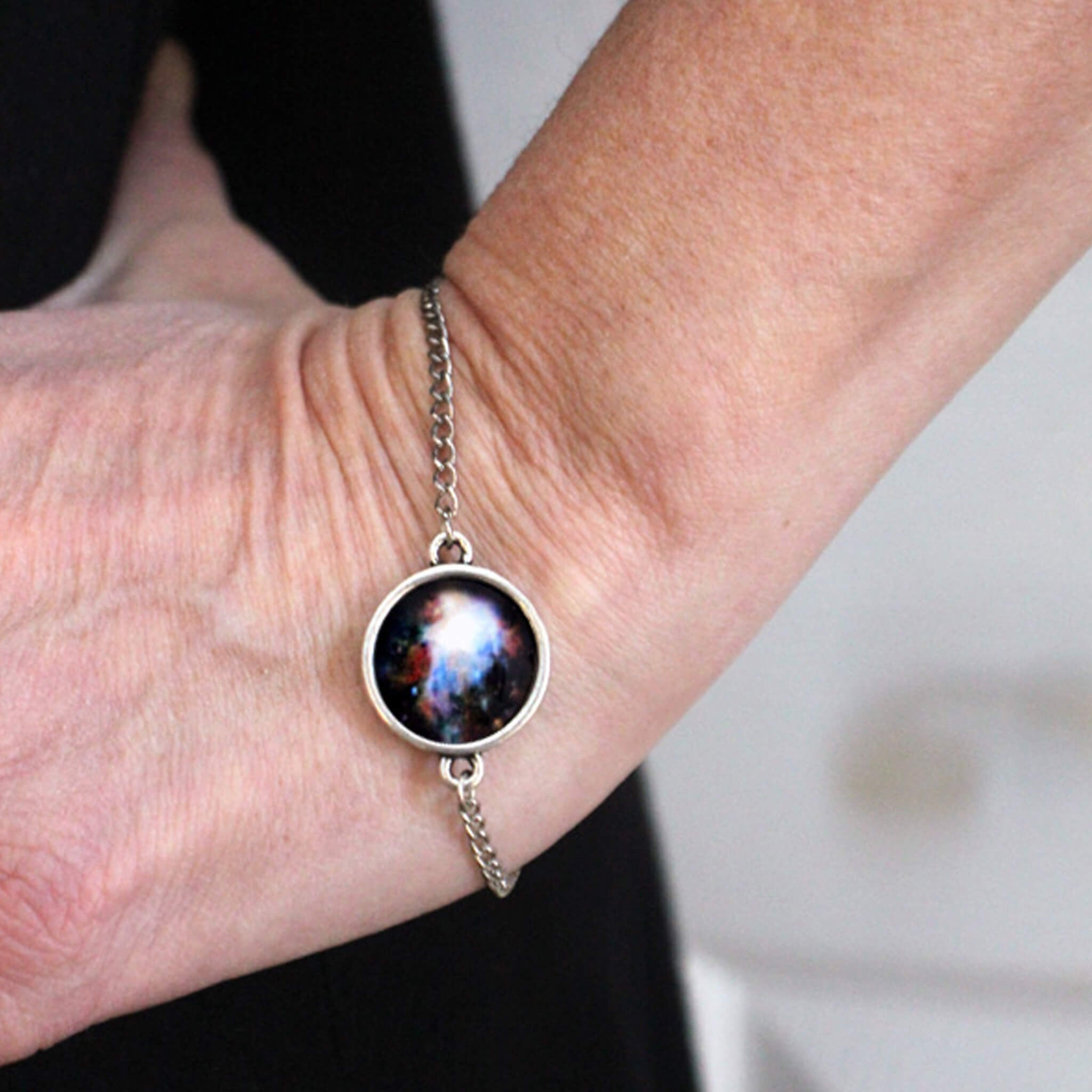 Galaxy bracelet - Simple silver bezel on chain, adjustable length - Choose your design from the universe, planet, galaxy, solar system, outer space, moon, sun, nebula - Handmade by yugentribe