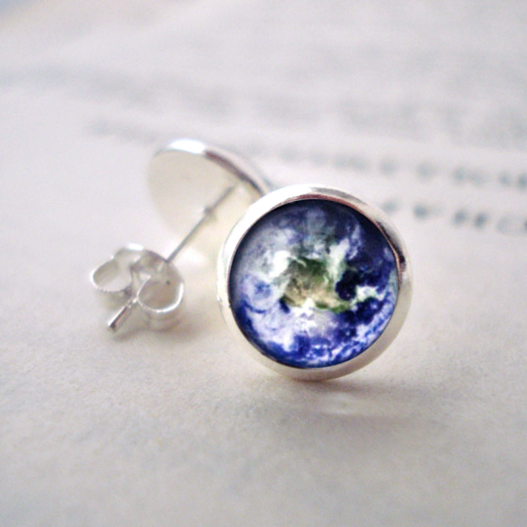 Small round circle post earrings with galaxy image - Choose your outer space image for custom celestial jewellery - handmade STEM jewelry and fashion by Yugen Tribe - Shown in silver with Earth
