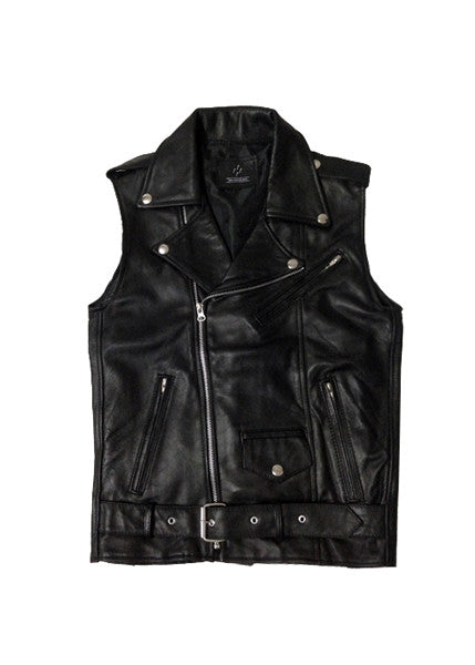 LEATHER MOTO VEST — BLK