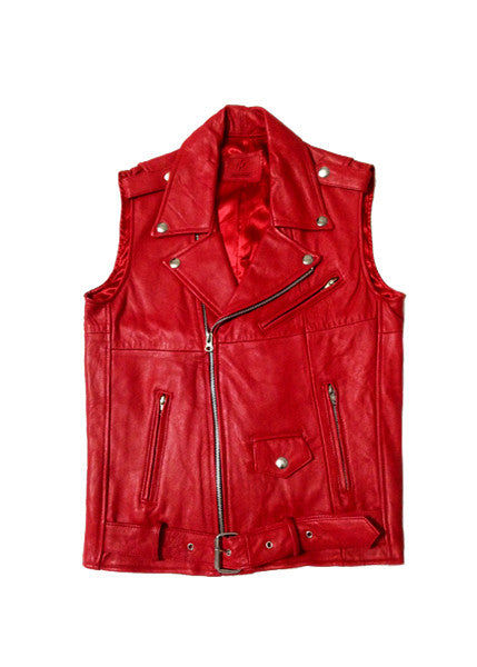 LEATHER MOTO VEST — RED