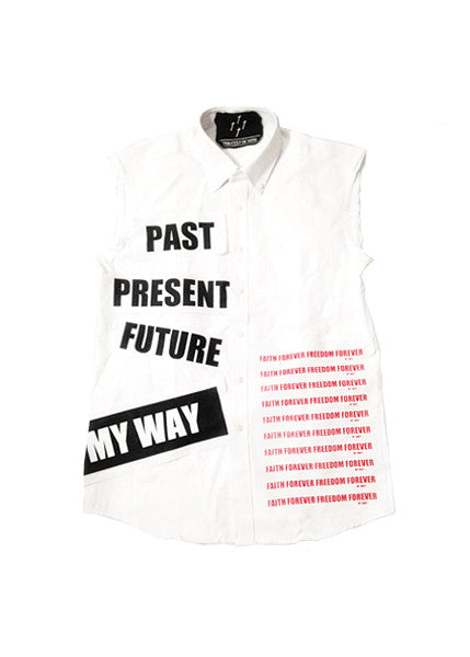 MY WAY PATCHED SHIRT — WHT