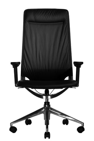 Marco II Highback Black Leather Chair Adjustable Arms Front View