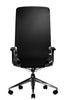 Marco II Highback Black Leather Chair Adjustable Arms Rear View