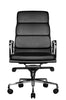 Clyde Ergonomic Highback Office Chair Black Leather Front View