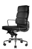 Clyde Ergonomic Highback Office Chair Black Leather Quarter Front View