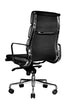 Clyde Ergonomic Highback Office Chair Black Leather Quarter Rear View