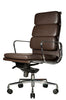 Clyde Ergonomic Highback Office Chair Brown Leather Quarter Front View