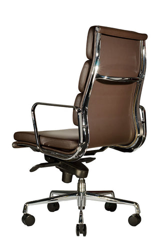 ... Wobi Office Brown Eames Soft Pad Replica High Back Chair Quarter Back  ...