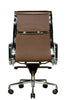 Clyde Ergonomic Highback Office Chair Brown Leather Rear View