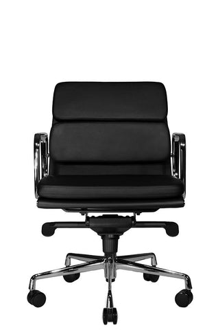 Wobi Office Black Eames Soft Pad Replica Low Back Chair Front