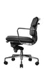 Clyde Ergonomic Lowback Office Chair Black Leather Front ViewProfile View