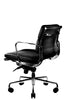 Clyde Ergonomic Lowback Office Chair Black Leather Front ViewQuarter Rear View