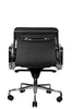 Clyde Ergonomic Lowback Office Chair Black Leather Front View Rear View