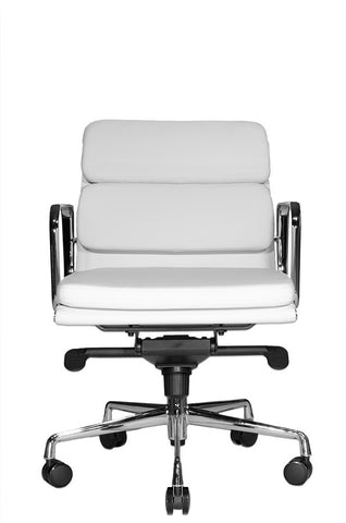 Wobi Office White Eames Soft Pad Replica Low Back Chair Front