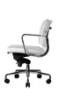Clyde Ergonomic Lowback Office Chair White Leather Profile View