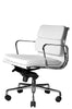 Clyde Ergonomic Lowback Office Chair White Leather Quarter Front View