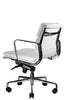 Clyde Ergonomic Lowback Office Chair White Leather Quarter Rear View