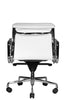 Clyde Ergonomic Lowback Office Chair White Leather Rear View