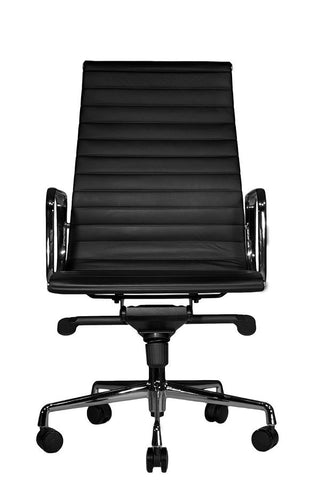 Reed Ergonomic Highback Black Leather Chair Front View