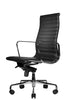 Reed Ergonomic Highback Black Leather Chair Quarter Front View