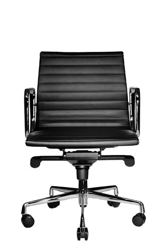 Wobi Office Black Eames Ribbed Management Replica Low Back Chair Front