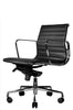 Reed Ergonomic Lowback Black Leather Chair Quarter Front View