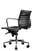 Reed Ergonomic Lowback Black Leather Chair Quarter Rear View