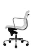 Reed Ergonomic Lowback White Leather Chair Profile View