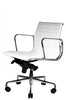 Wobi Office White Eames Ribbed Management Replica Low Back Chair Quarter Front