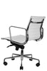Reed Ergonomic Lowback White Leather Chair Quarter Rear View
