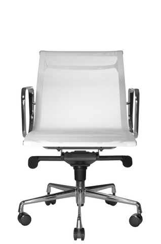 Wobi Office White Eames Mesh Management Replica Low Back Chair Front