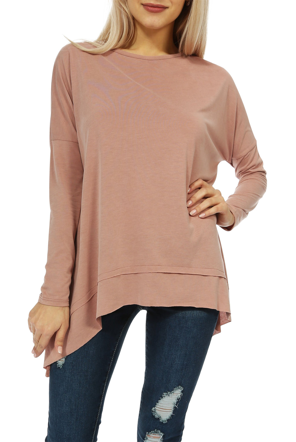 Teeze Me | Long Sleeve Scoop Neck Trapeze Top  | Blush