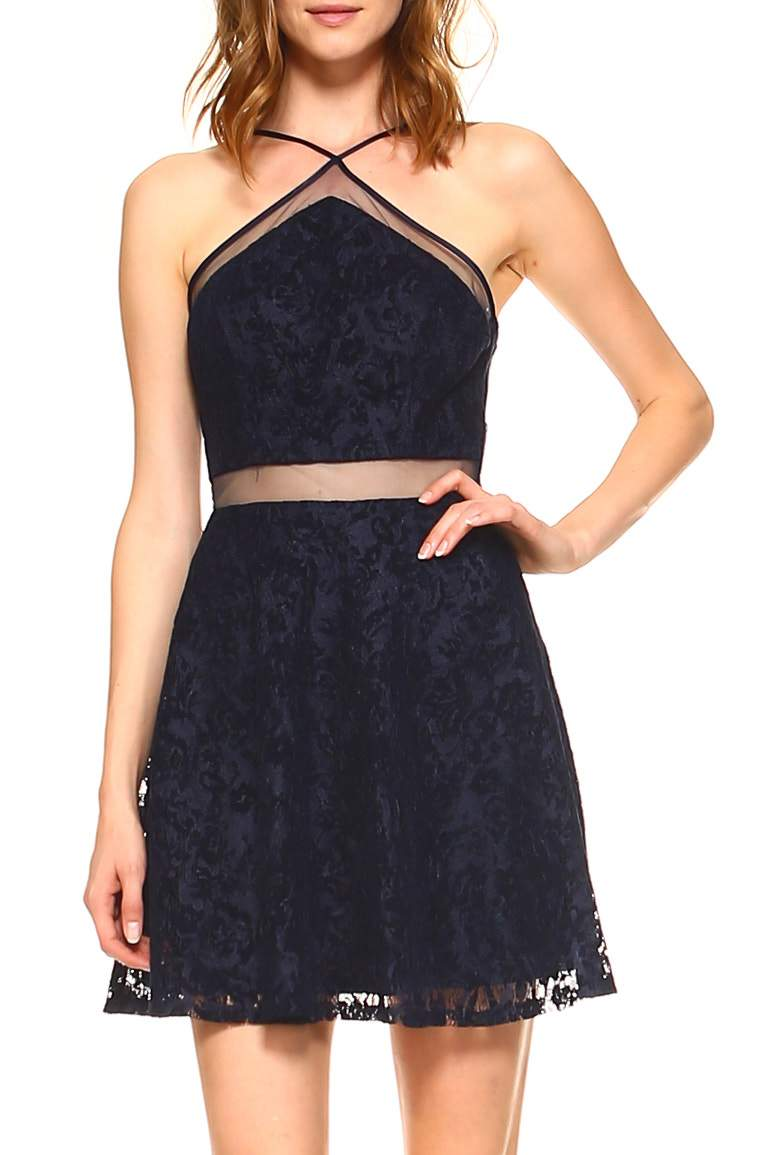 Teeze Me | Halter Spaghetti Strap Flocked Lace Illusion Waist Party Dress  | Navy