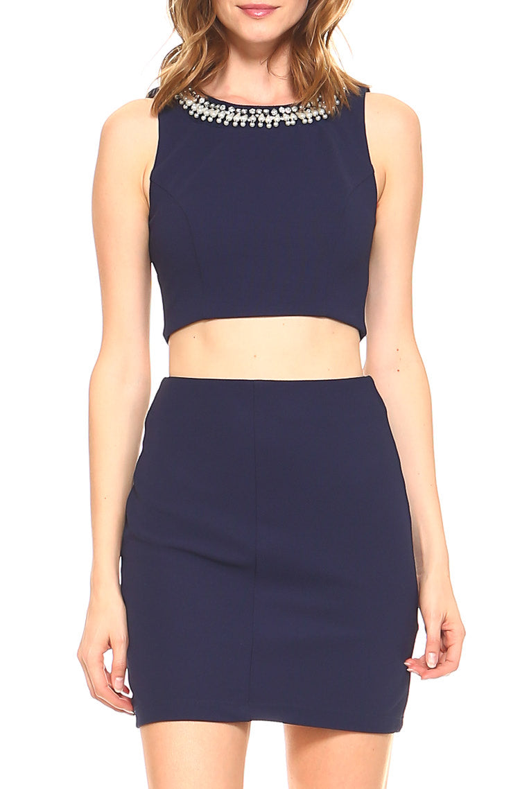Teeze Me | Two-Piece Sleeveless Jewel Neck Crop Top Skater Dress   | Navy - Teeze Me