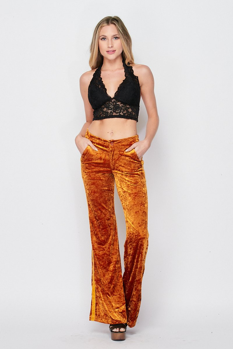 Blank Lewks | Groovie Crush Velvet Bell Bottom Pants | Mustard