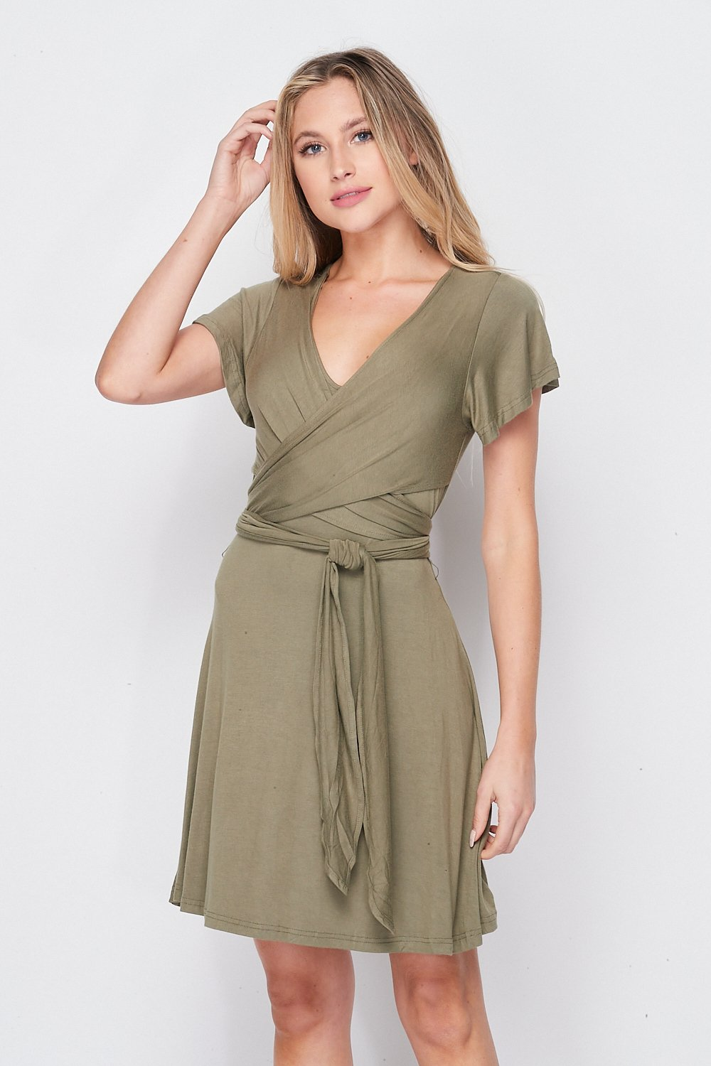 Blank Lewks | All Wrapped Up Tie Dress | Olive