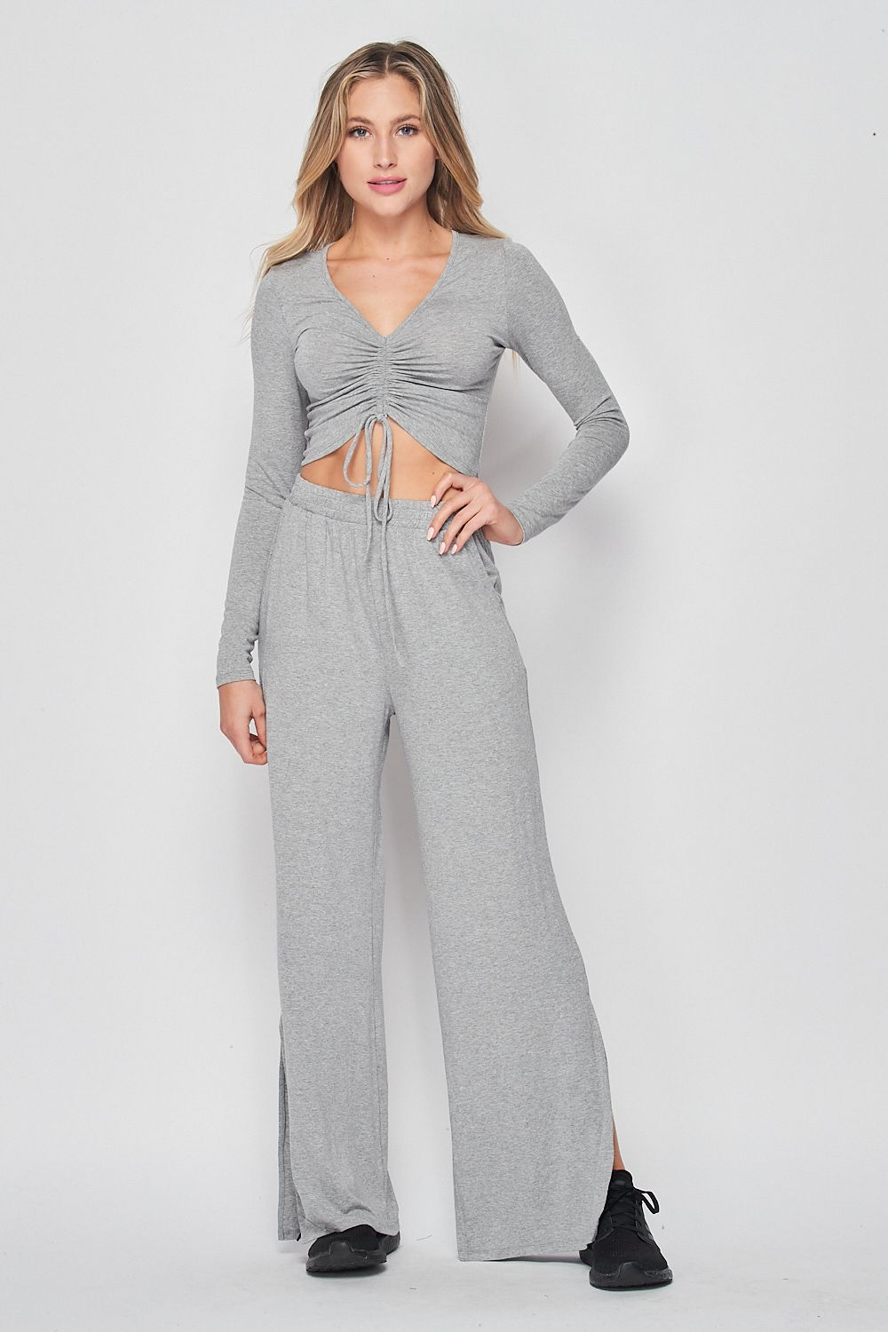 Blank Lewks | High Waisted Wide Leg Knit Pants | H.Grey