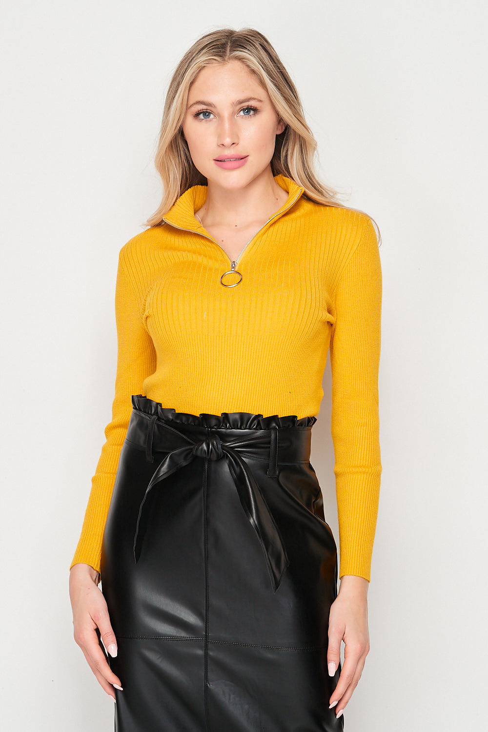 Blank Lewks | Total Babe Zip Rib Cropped Top | Mustard