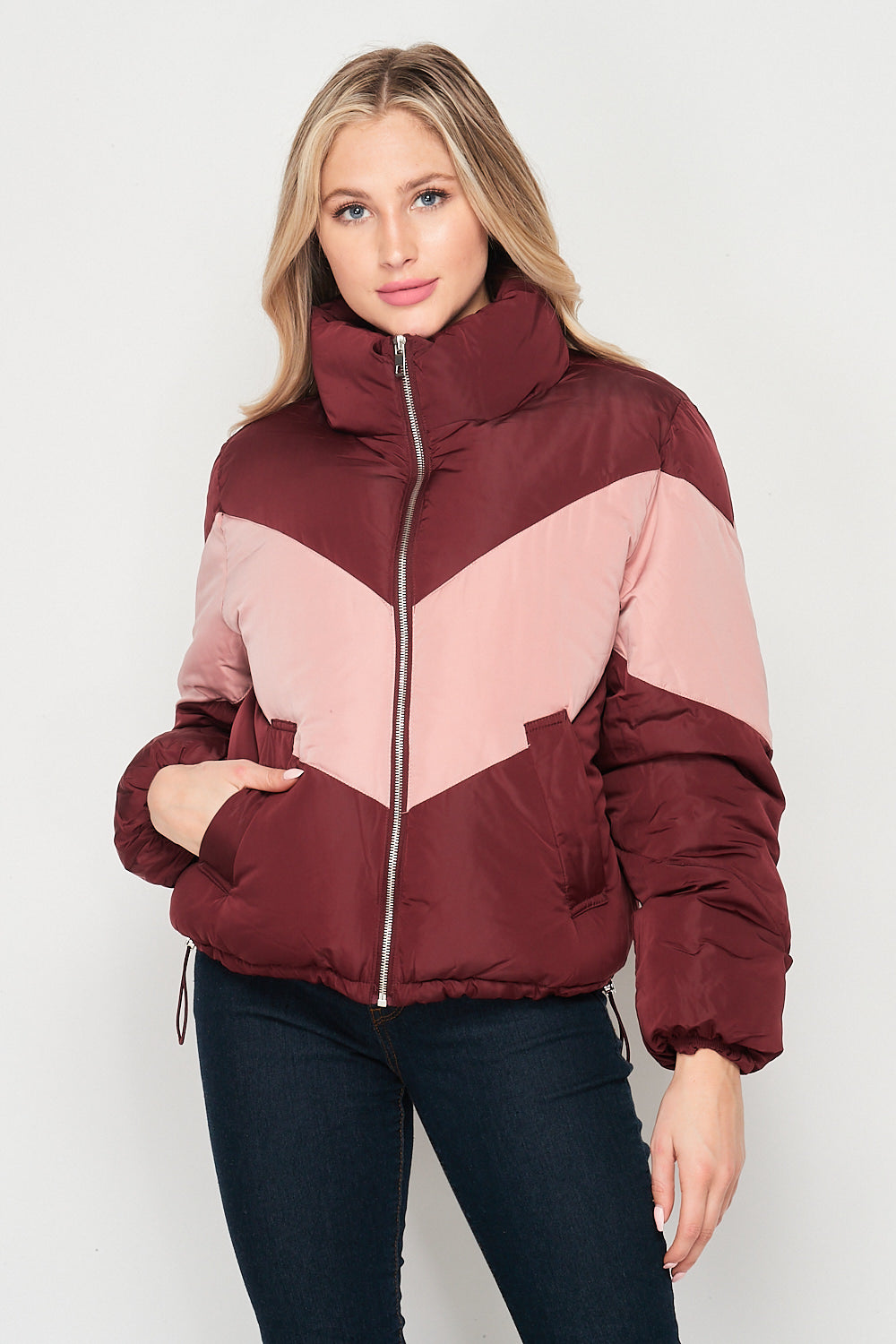 Blank Lewks | Warm Feeling Nylon Puffer Jacket | Burgundy/Pink
