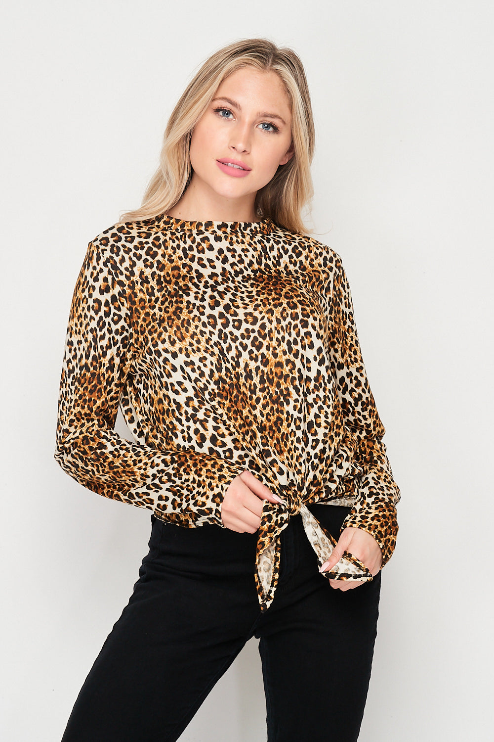 Blank Lewks | Wild Thing Tie Front Animal Print Top | Leopard