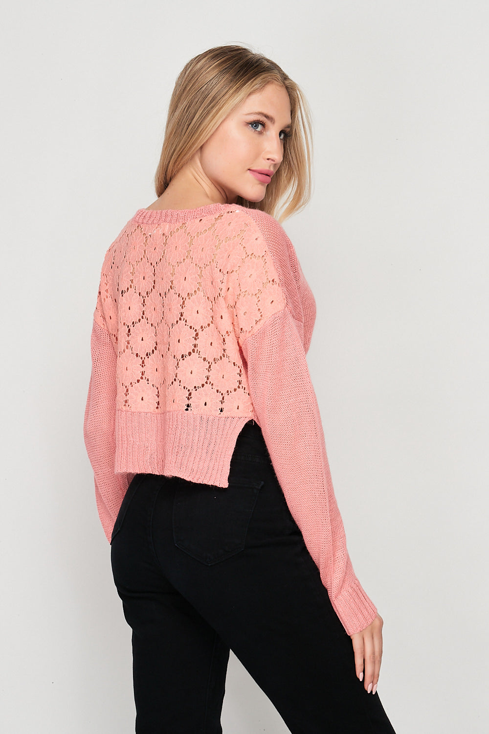 Blank Lewks | Crochet Lace-Back Long Sleeve V-Neck | Coral