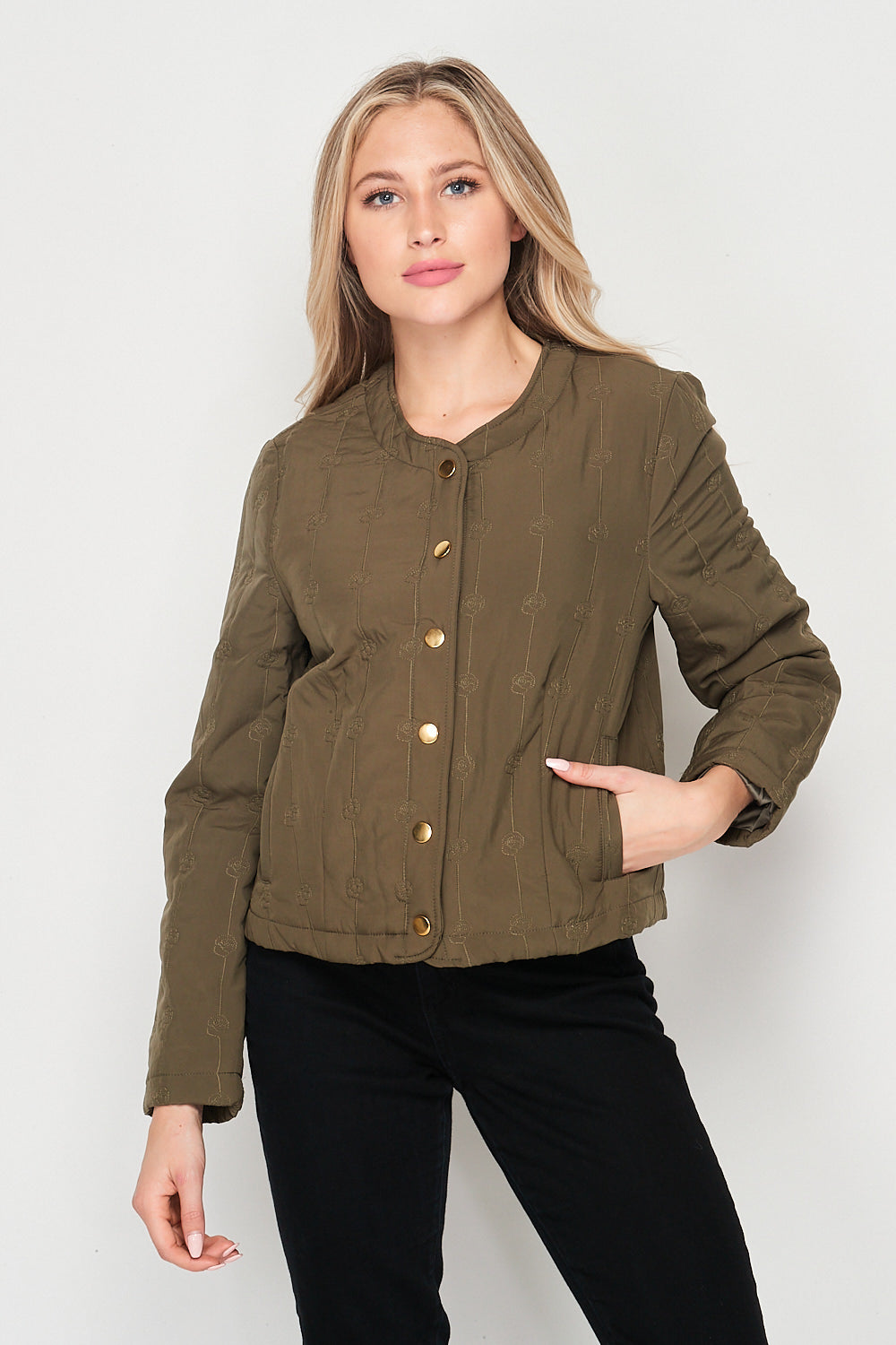 Blank Lewks | Rose Quilted Snap Button Jacket | Olive